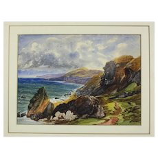 19th century English Watercolor painting Coastal Seascape