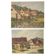 Pair of Continental Watercolor paintings K. Fink, village streets and homes