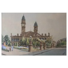 Fussell Watercolor Painting Scotland Renfrewshire Dunn Square Town Hall c1930
