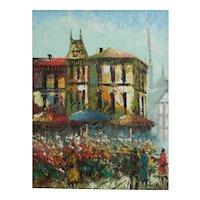 Rene Caron Paris Street Scene, Flower carts C1960