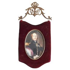 19th century Continental Miniature Painting on celluloid Portrait Military Officer