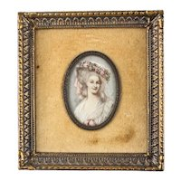 19th century Continental Hand Painted Miniature Portrait
