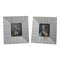 Pair of Continental Miniature Hand Painted Portraits on celluloid C1920