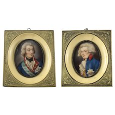 Pair Continental Hand Painted Miniature Portraits c1900 George IV
