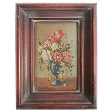 Gino Tassinari (19-20th Century) Miniature Oil Painting Floral