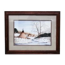 Ken Cargle American 20th C Watercolor Painting Tepees winter landscape