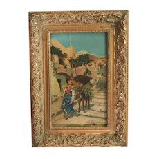 Continental Oil painting Village landscape w/ peasant girl and donkey