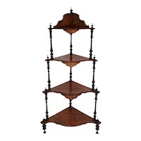 Late 19th century Victorian English Burl Walnut What-Not Corner Shelf 4 tiers