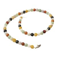 Vintage Jadeite Beaded Multicolored necklace Sterling silver pearl clasp