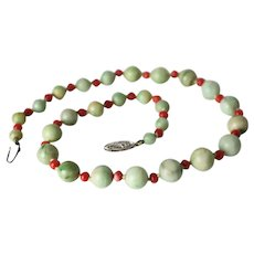 Vintage Jadeite and Coral Beaded Necklace, 14k white gold closure