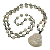 Vintage Jade Jadeite Buddha Pendant Prayer Beads Mala