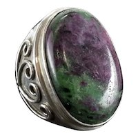 HUGE Ruby in Zoisite Cabochon Sterling Silver Statement Ring size 7.75