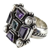 Sterling silver aquamarine pearl and amethyst RING cross pattee design, size 6