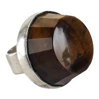 HUGE Sterling Silver Tiger's Eye Gemstone Ring, size 5 London 1972
