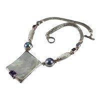 Huge Vintage Sterling Silver MOP Baroque Pearl Fire Opal Amethyst Necklace