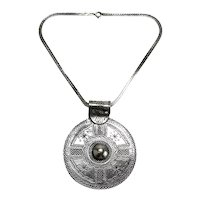 """Large Sterling Silver Persian Disk Pendant Choker Chain 15"""""""