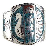 Navajo Sterling Silver Turquoise Coral Chip inlay Cuff Bracelet c1950