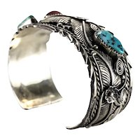 Atkinson Trading Co. Sterling Silver Navajo Cuff Bracelet Coral turquoise c1950