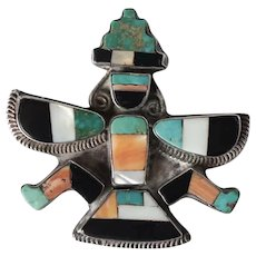 Zuni Sterling Silver Multi colored Inlay Knifewing Dancer Brooch, c1940
