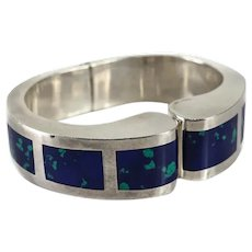 TAXCO Mexico Sterling AZURITE Silver Cuff Bangle Bracelet Mid Century
