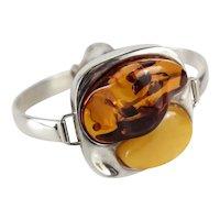 Sterling Silver Egg Yolk Cognac Amber Modernist Bangle bracelet