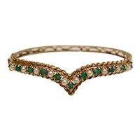 Vintage 14k Yellow Gold Bangle Bracelet 10 cultured pearls 11 emeralds.