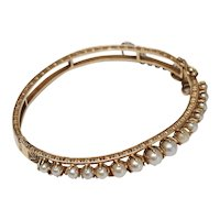 Vintage 14k Yellow Gold Bangle Bracelet with graduated cultured pearls, hinged