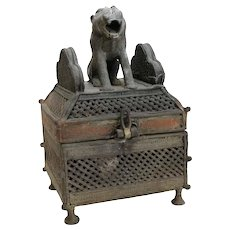 Asian Bronze Hinged Incense Censer with seated Lion Foo Dog