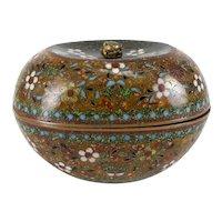 Japanese Cloisonne Copper Box bud finial c1880