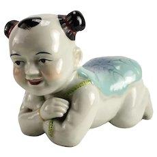 Chinese Ceramic Figural Opium Pillow, c1920 Child