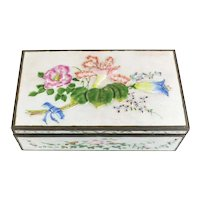 Chinese Enamel on Silverplate Cigar / Tobacco Box early 20th Century