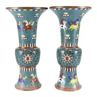 Pair of Large Chinese cloisonne enamel vases 18th Century