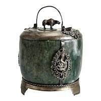 Chinese Nephrite Jade Footed Silver Hot Wine Pot / Kettle c1900