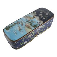 Japanese Cloisonne Enamel Brush Box c1900