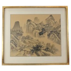 Antique Chinese Ink Wash Painting on Silk, Mountain Landscape Signed