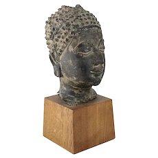 Thai Ayutthaya style Bronze Buddha Bust Head fragment 18th century