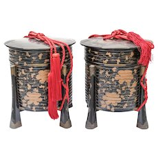 Pair of Japanese Lacquerware Hokkai Picnic Boxes Roiro-nuri
