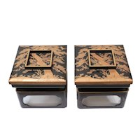 Pair of Japanese Lacquerware Stands with Covered Trays Roiro-nuri