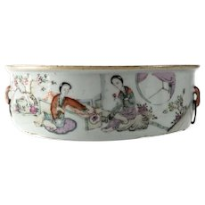 Antique Chinese porcelain rice serving bowl figures calligraphy