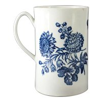 18th Century Worcester Blue and White Porcelain Mug, Natural Sprays Group
