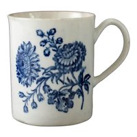18th Century Worcester Blue and White Porcelain Cup Mug Natural Sprays Group