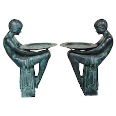 D.H. Chiparus Pair of French Art Deco patinated bronze figures