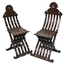 Early 20th century Syrian Chairs mother of pearl inlay carved designs
