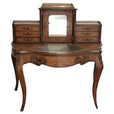 19th century Continental Burl Walnut Ladies Writing Desk