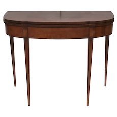19th c Continental Hepplewhite style folding top gate leg card table
