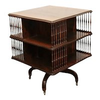 English Rotating End Table Book stand on casters Early 20th century