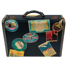 Vintage Suitcase Luggage blue canvas, leather trim, with travel stickers