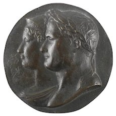 ANDRIEU FECIT Patinated Bronze Napoleon and Josephine Plaque 19th Century