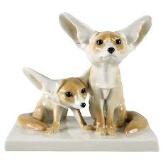 Meissen Fennec Desert Foxes Porcelain Figural Group c1920