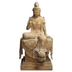 Monumental hand carved wooden figure of Goddess Guanyin